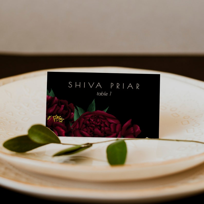 Moody Peony Place Card Template; Burgundy Place Card Tent; Moody Black Escort Card; DIY; Editable; Printable; Instant Download ANNA