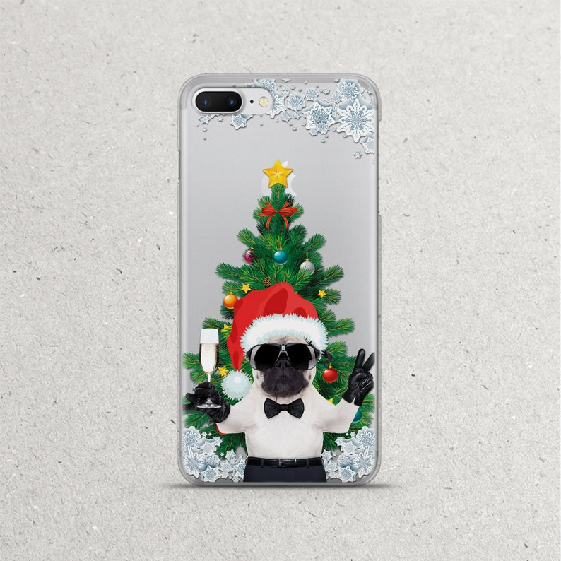 new styles bc5e9 45ef0 Christmas Pug Cute Dog Phone Case for iPhone 10 X 10s 10x Xs Max 10r Xr Ten  8 7 6s 6 plus 5s se Cell Clear Silicone TPU Cover Gifts