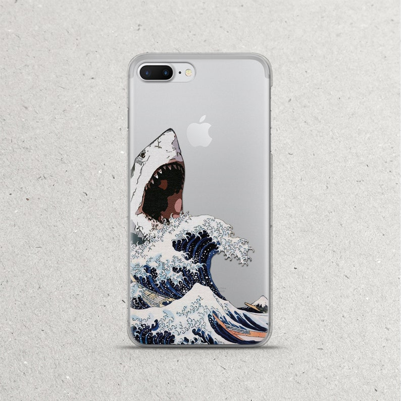 detailed look 83238 ac465 Off Kanagawa Great Wave Phone Case Sea Shark iPhone Xs 10s 10 s Max Xr X r  ten 8 7 6 6S plus iPhone 5 SE 5se 4 Clear Silicone TPU Cover