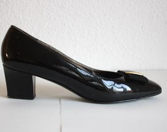 1980 MAB Studio True vintage pumps lacquer bow ballerinas heels black gold Thomas eighties