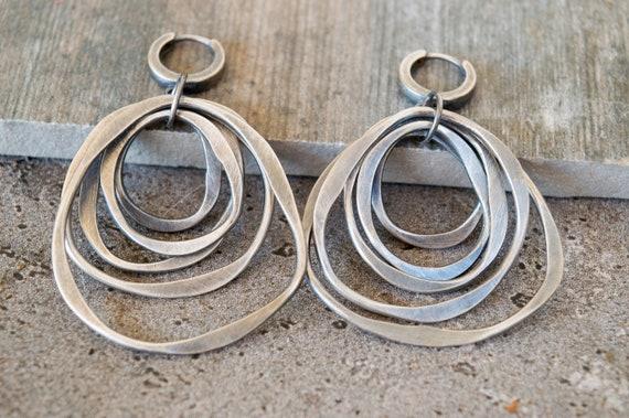 Hoop Earrings Sterling Silver Boho Circle Dangle Earrings