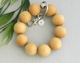 aabc4ccb0 Aromatic Keychain Bracelet, Personalized Bracelet Keychain, Beaded Key  Wristlet, Handsfree Keychain, Natural Wood Bead, Gift Under 15