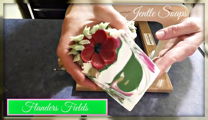 Flanders Fields Artisan Soap Cake Red Handmade Cold Process image 0