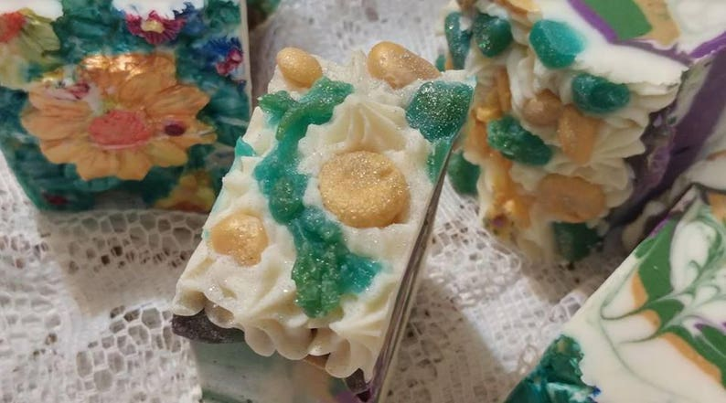 Vancouver Beach Glass and Flower Artisan Soap Cake image 0