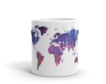 World Map Mug Etsy