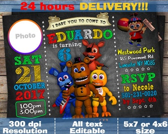 Five Nights At Freddys Invitation FNAF Birthday Freaddys Invite Themed Party Digital File