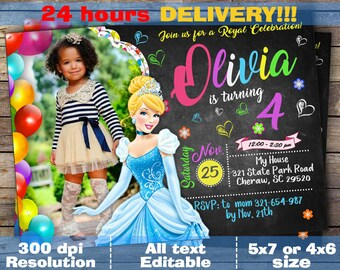 Cinderella Invitation - Disney Cinderella Invite - Cinderella Birthday Printed Invitation with photo - Cinderella Birthday Party