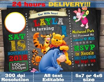 winnie the pooh birthday, winnie the pooh baby shower, winnie the pooh invitations, winnie the pooh invites, winnie the pooh first birthday