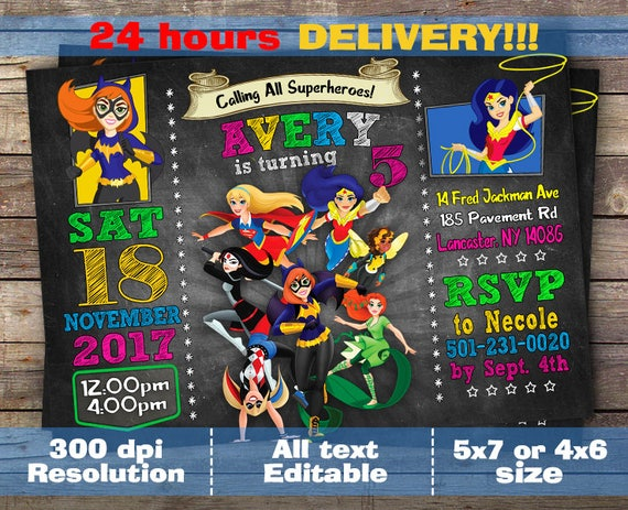 Dc Superhero Girls Invitation Dc Super Hero Girls Birthday Etsy