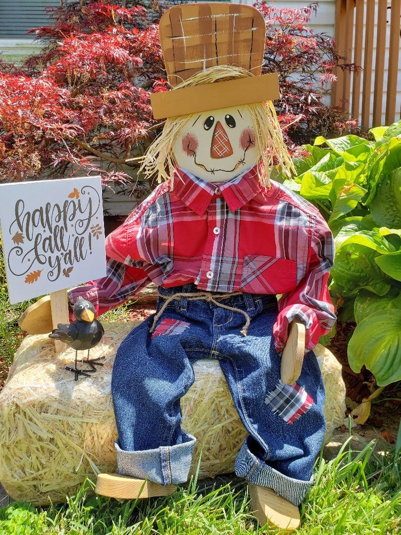 Sitting scarecrow Wooden Scarecrow Porch Sitter Fall image 0