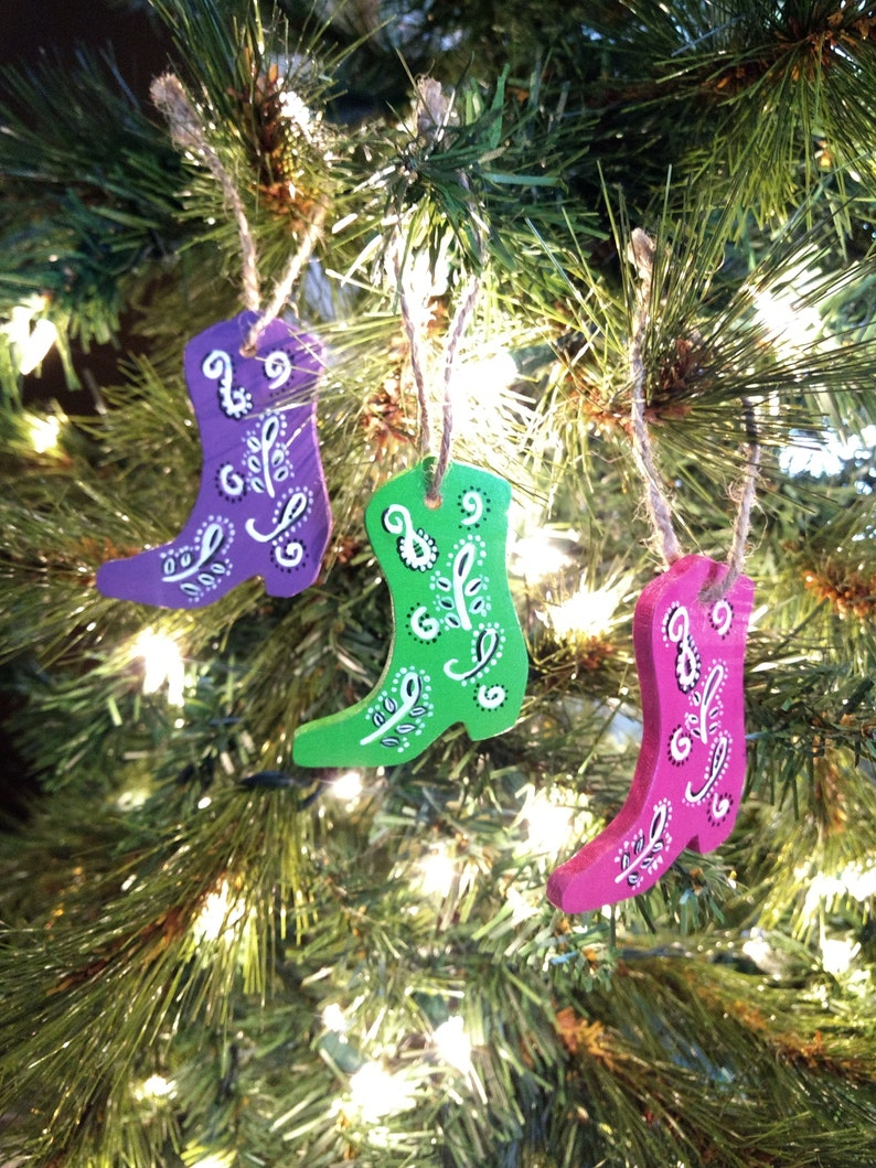 Clearance Cowgirl Boot Ornaments Set Of 3 Cowgirl Boot Bandana Pattern Ornaments Western Ornaments Blue Boot Pink Boot Purple Boot