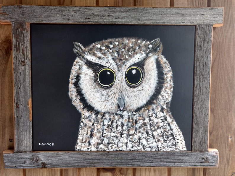Snow Owl Nature Animal Wildlife Wall Decor Mahogany Black Framed Art Picture