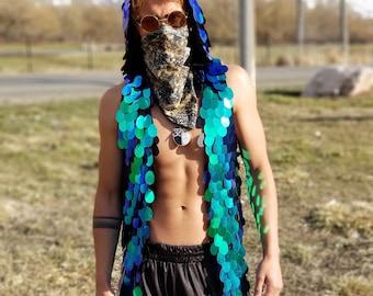 Sequin Rave Vest   Festival Hoodie   Holographic Hood   Festival Jacket   Sleeveless Hoodie   Rave Hoodie   Men's Festival Clothes  