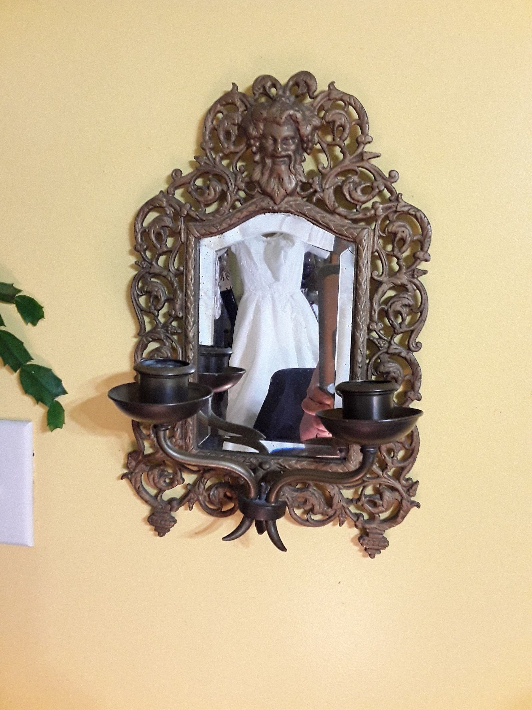 Antique Bradley Hubbard Signed Brass Beveled Mirror Candle   Etsy