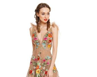 Hand embroidered silk mini dress