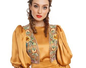Silk hand embroidered vest