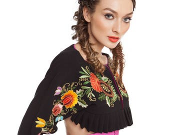 Top with handmade embroidery