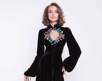 Silk velvet evening gown with handmade embroidery