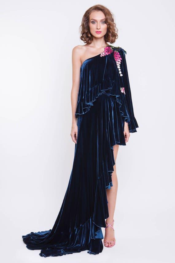 Robe soiree en velour de soie