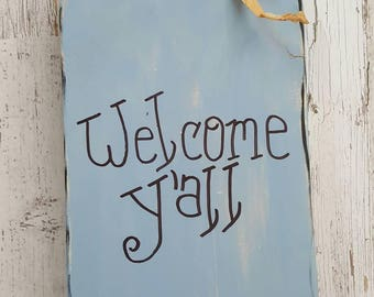 Rustic wood mason jar welcome y'all sign painted distressed decor