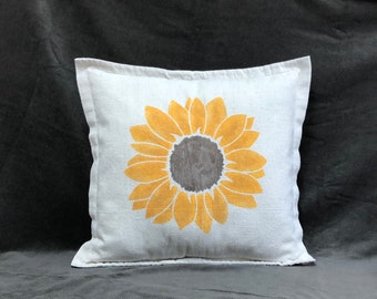 Rustic Pillow Cover Sunflower Farmhouse Throw Linen