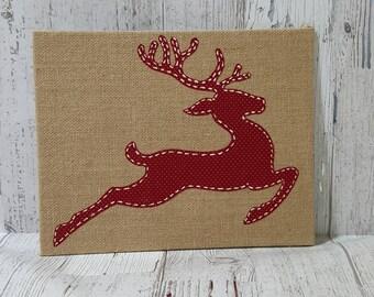 Rustic burlap canvas-red reindeer applique on burlap canvas-Christmas wall decor