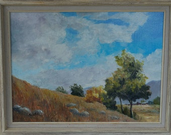 Summer Skies  Oil on hardboard with Frame.  Landscape painting.