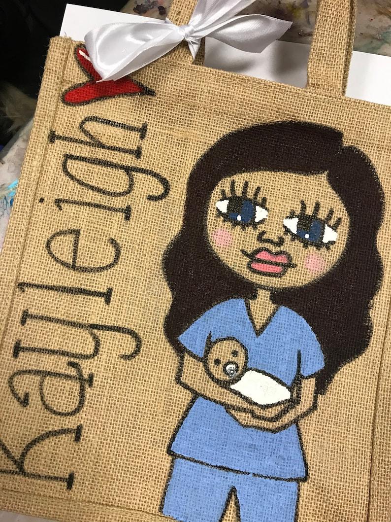 Midwife Bag-Midwife Lockdown Gift-Personalised Jute image 0