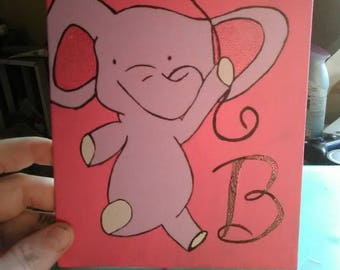Cute elephant with B 5 by 7