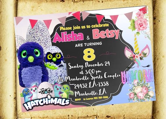 Twins Shared Invitation Custom Sibling Birthday Invitation Double Invitation Unicorns Invitation Pokemon Invite Thank You Card Free