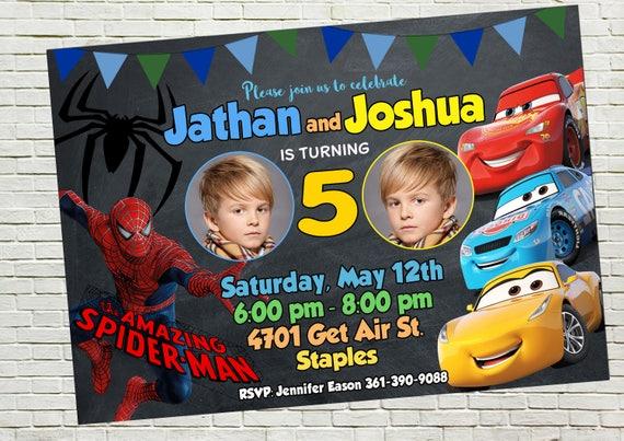Rodzeństwo Zaproszenia Urodziny Bliźniaki Zaprosić Dual Etsy