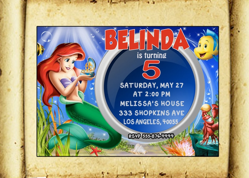 Mermaid Ariel Invitation Birthday Party