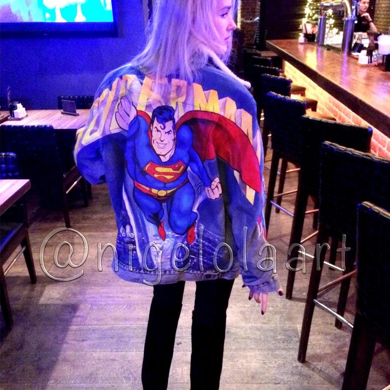Denim jacket Painted denim jacket Superman Painted jacket Jean jacket superhero Painted jacket Denim jacket Painted jean jacket Man jacket