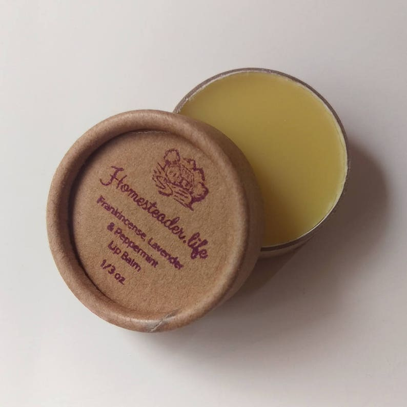 Lip Balm: Frankincense Lavender and Peppermint 1/3 oz Jar image 0