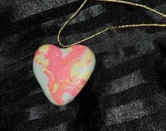 Rainbow Swirl Heart Pendant