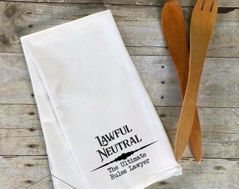 Lawful Neutral Alignment Nerdy Decorative Kitchen Towel