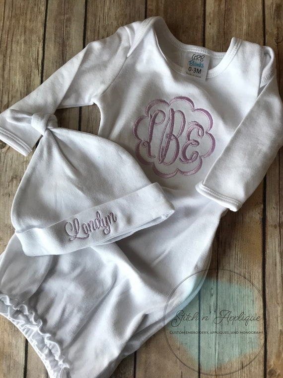 layette first pictures girl hospital outfit pink Personalized baby girl gift newborn gown monogrammed baby girl coming home outfit