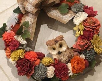 Fall Wreath with Owl
