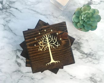 Lord of the Rings Tree of Gondor Wood Coasters, Tree of Gondor Coasters, Tree of Gondor Coaster Set, Lord of the Rings Tree of Gondor Set