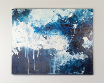 Blue & White Large Original Abstract Contemporary Modern Art AS IS Gallery Hung One of A Kind Fine Art Wall Decor Painting