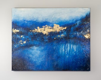 Blue Gold Leaf Large Original Abstract Contemporary Modern Art AS IS Gallery Hung One of A Kind Fine Art Wall Decor Painting