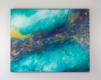 Ocean Gold Large Original Abstract Contemporary Modern Art AS IS Gallery Hung One of A Kind Fine Art Wall Decor Painting