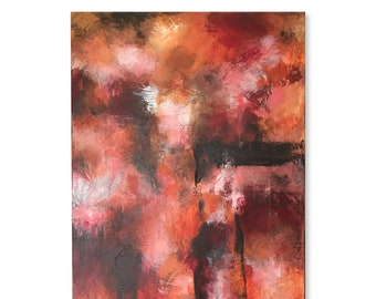 Red Orange Brown Pink White Large Original Abstract Contemporary Modern Art AS IS One of A Kind Fine Art Wall Decor Painting