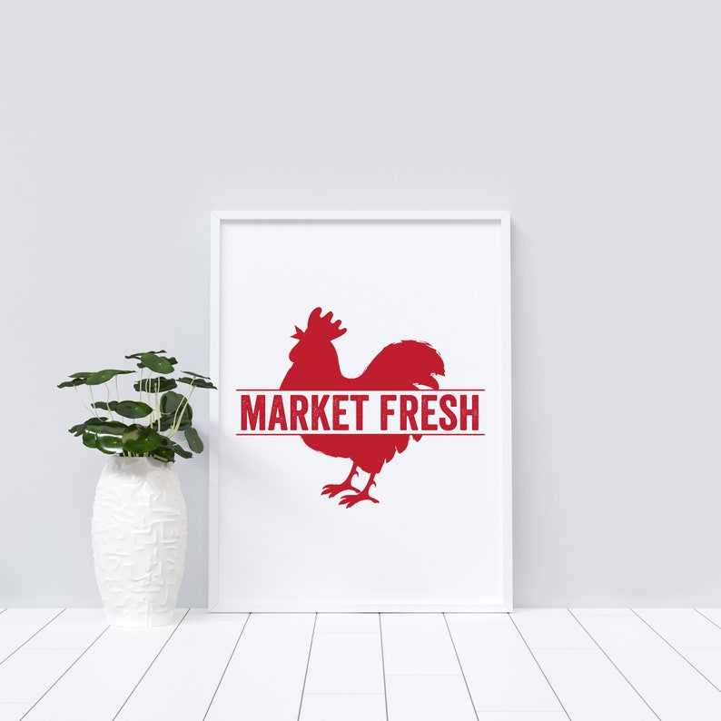 Market Fresh Rooster Downloadable Print Multiple Sizes image 0
