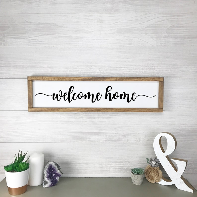 Welcome Home Rustic Farmhouse Gift for Her Sign Farmhouse Wall image 0