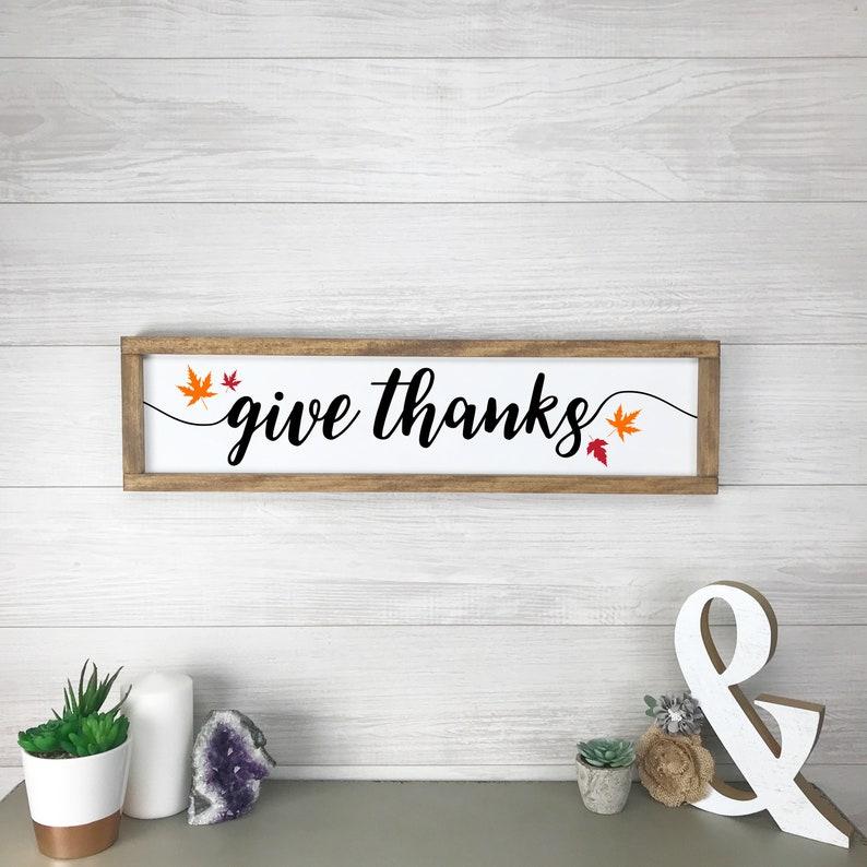 Thanksgiving Sign Thankful Framed Sign Autumn Decor image 0