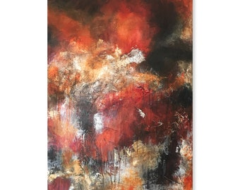 Red Orange Brown White Large Original Abstract Contemporary Modern Art AS IS One of A Kind Fine Art Wall Decor Painting