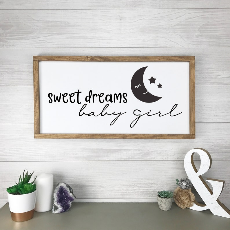 Sweet Dreams Baby Girl Wood Sign Farmhouse Sign Farmhouse image 0