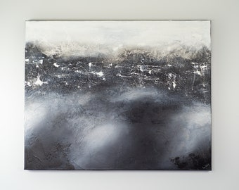 Deep Cold Black & White Large Original Abstract Contemporary Modern Art AS IS Gallery Hung One of A Kind Fine Art Wall Decor Painting