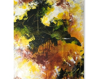 Yellow, Orange, Brown, Black Large Original Abstract Contemporary Modern Art AS IS Gallery Hung One of A Kind Fine Art Wall Decor Painting